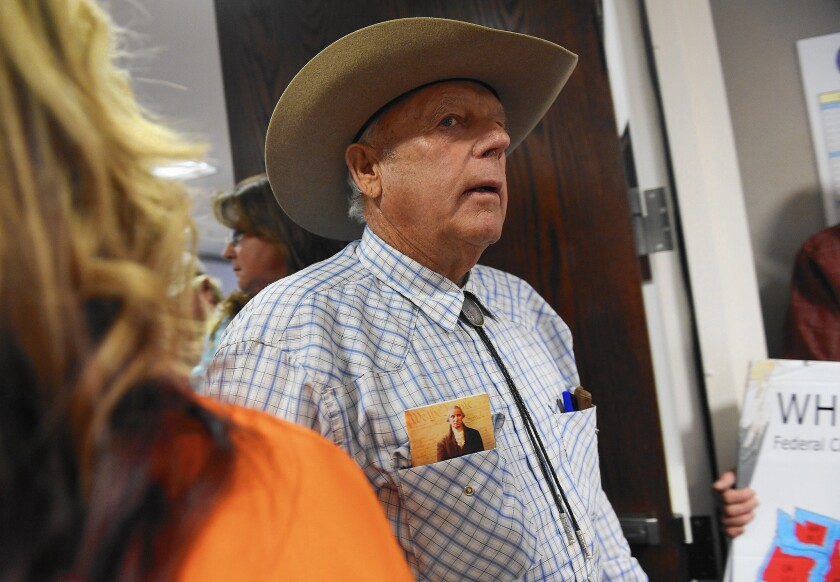 Nevada rancher Cliven Bundy arrives at the state Capitol in Carson City to add his voice in support of AB 408, which challenges the U.S. government's authority over the state's public lands.