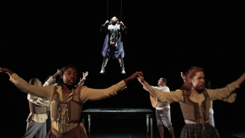 """Soloist Cesili Williams (top) and the ensemble in O-Lan Jones' """"Iceland"""" are featured in the first program of the New Original Works Festival 2014 at REDCAT."""