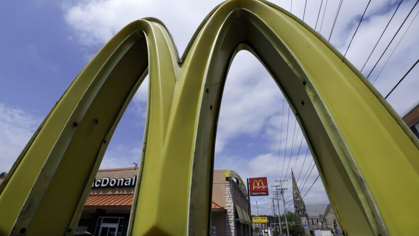 This is a McDonald's restaurant on the Northside of Pittsburgh Tuesday, April 30, 2019. (AP Photo/Gene J. Puskar)