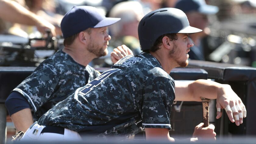 The Padres' Wil Myers, right, and manager Andy Green during game against the Yankees.