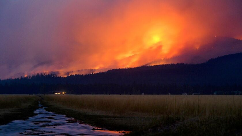 The Rice Ridge fire in Montana. The smoke from wildfires hangs like fog over large parts of the U.S.