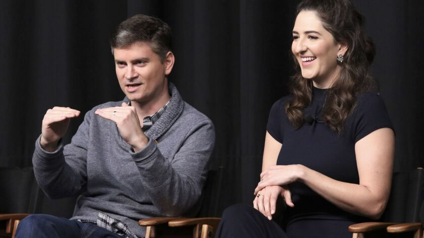 """""""The Good Place"""" creator Michael Schur and actress D'Arcy Carden on a panel during the TCAs in Janua"""