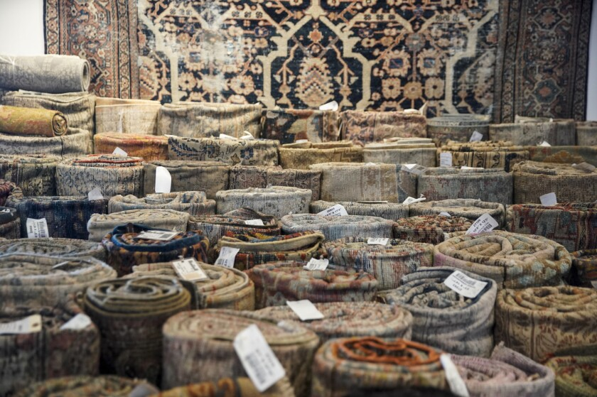 Rugs on display at Mehraban.
