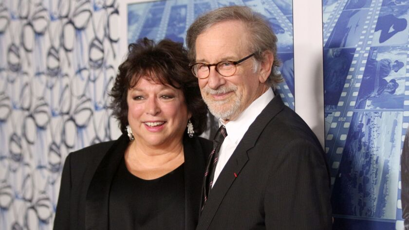 "Susan Lacy and Steven Spielberg arrive at the Los Angeles premiere of ""Spielberg"" at Paramount Studios on Sept. 26."