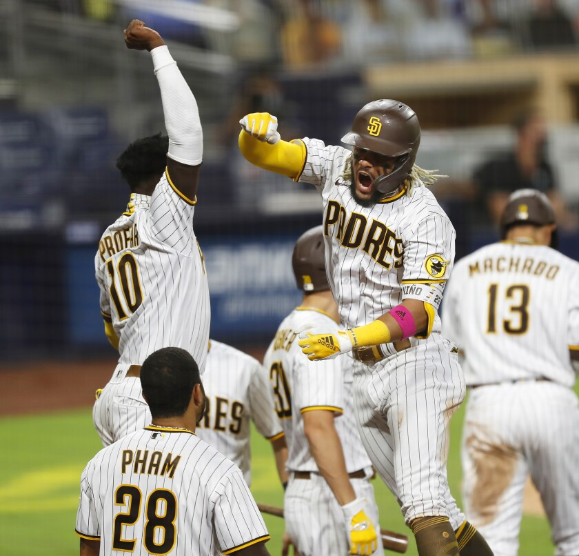 Fernando Tatis Jr. celebrates home run in Thursday's Wild Card playoff game against the St. Louis Cardinals at Petco Park.