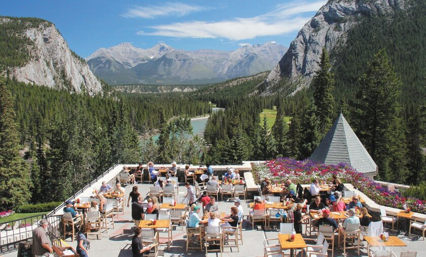 The Fairmont Banff Springs Hotel's outdoor terrace restaurant has a spectacular view.