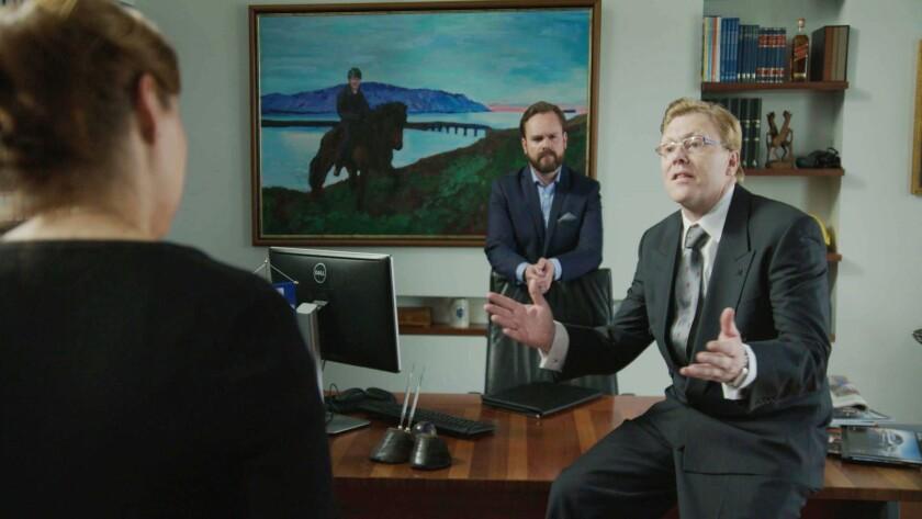"""Jón Gnarr, right, and Pétur Jóhann Sigfússon, center, star in the Icelandic comedy """"The Mayor."""""""