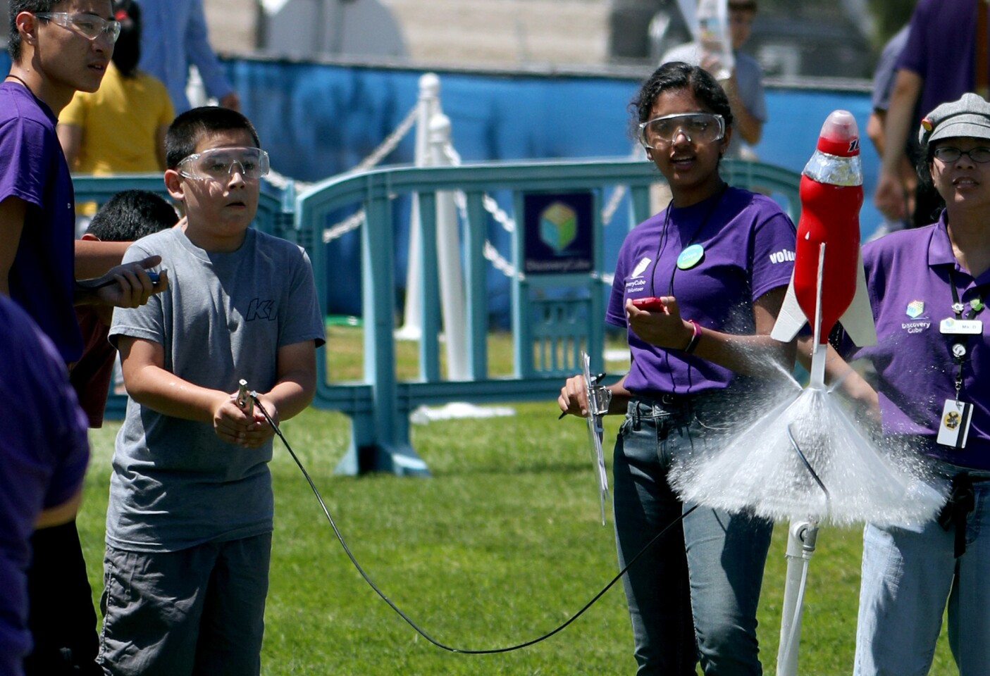 Photo Gallery: Soda bottle rockets launched during Discovery Cube event at Boeing