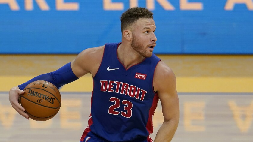 Detroit Pistons forward Blake Griffin plays against the Golden State Warriors on Jan. 30.