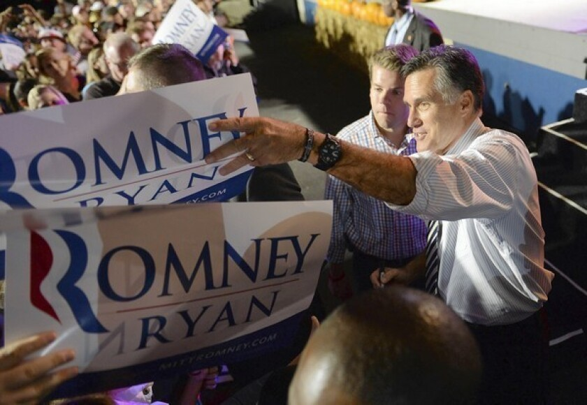 Republican Mitt Romney campaigns in Jacksonville, Fla. He once counted on the crucial swing state, but polls now show it in a dead heat.