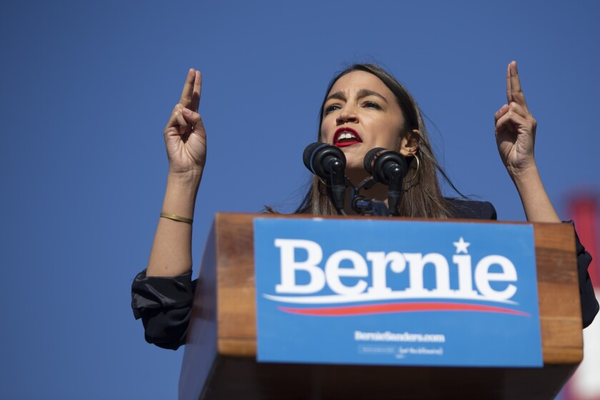 Alexandria Ocasio-Cortez at a Bernie Sanders rally