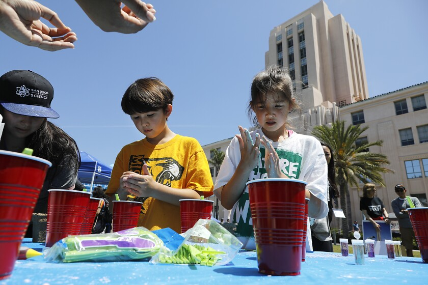Adam Wu, 10 and sister Maddie Wu, 8, both of Del Mar create Oobleck, the substance created from corn starch and water that can be both a liquid and a solid. They were at the Rally for Science.