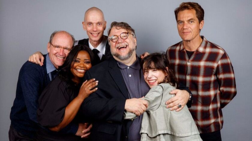 "The ensemble cast of ""The Shape of Water,"" a film of beautiful outsiders: From left, Richard Jenkins, Octavia Spencer, Doug Jones, director Guillermo del Toro, Sally Hawkins and Michael Shannon at the 2017 Toronto International Film Festival."