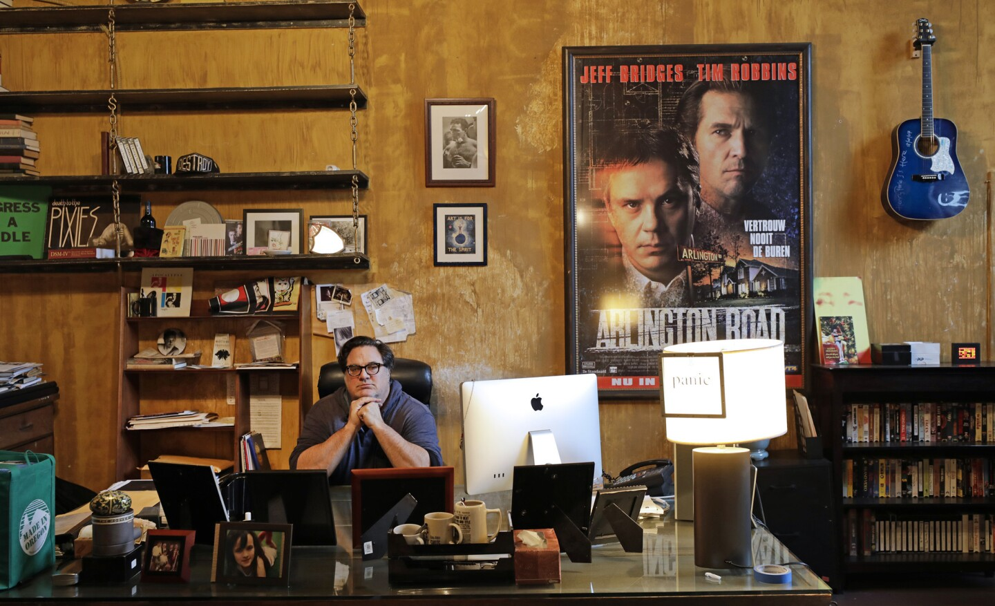 """Director Mark Pellington's office is a treasure trove of memorabilia -- art, books, vinyl albums, VHS movies, cassettes and more. He refers to it as an """"analog museum."""" His new film, 'Nostalgia,' opens Feb. 16."""