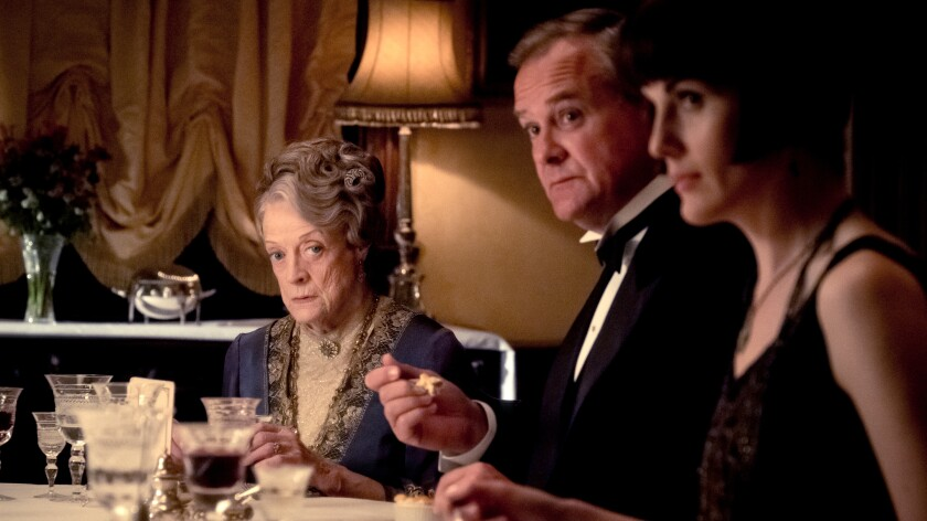 """Maggie Smith, left, Hugh Bonneville and Michelle Dockery in """"Return to Downton Abbey: A Grand Event"""" on NBC."""