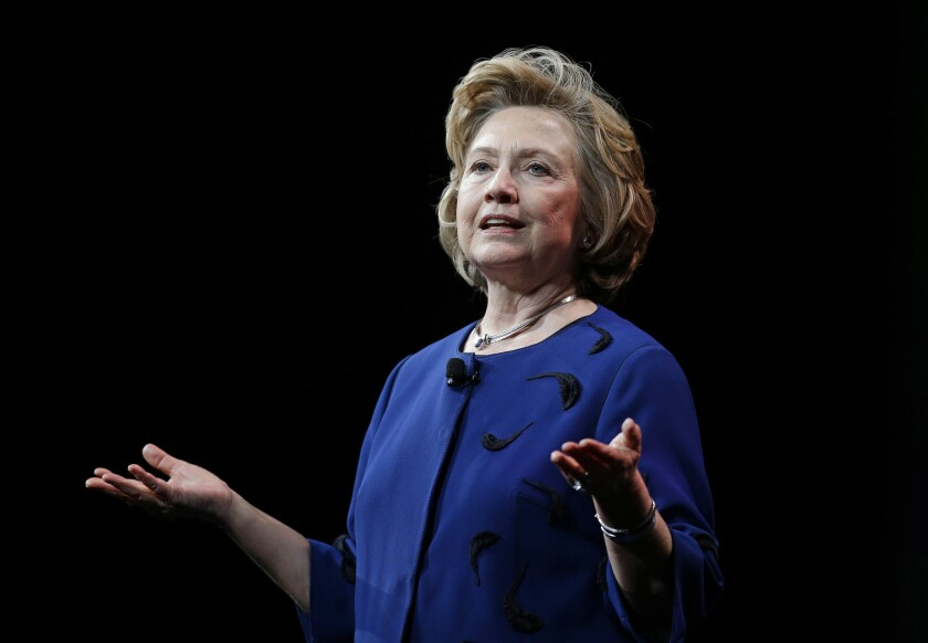 Former Secretary of State Hillary Rodham Clinton speaking in San Francisco in April.