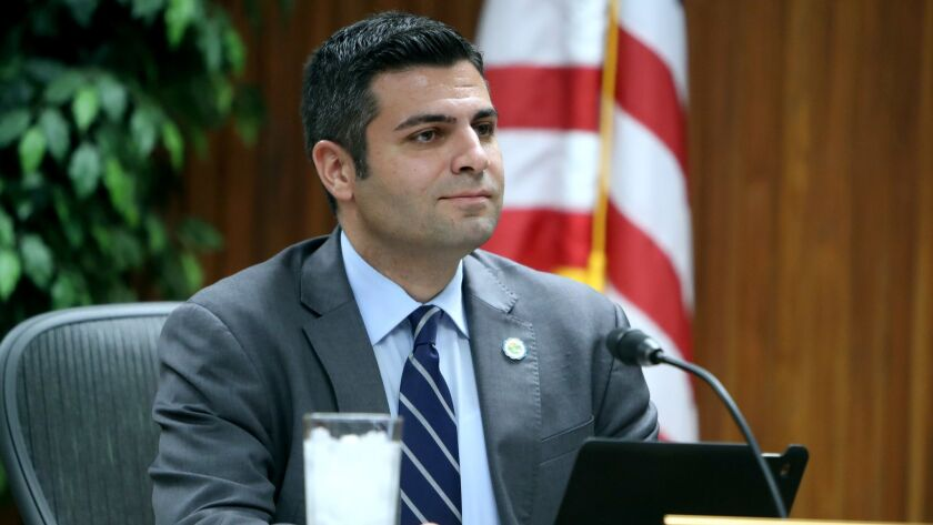 The Glendale Unified School District board member Shant Sahakian during meeting at district headquar