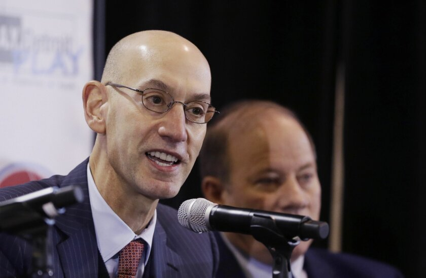 FILE - In this Monday, Jan. 18, 2016 file photo, National Basketball Association commissioner Adam Silver, addresses the media at the S.A.Y. Detroit Play Center in Detroit. The first All-Star weekend held outside the U.S. is another success for Commissioner Adam Silver. And while things are going w
