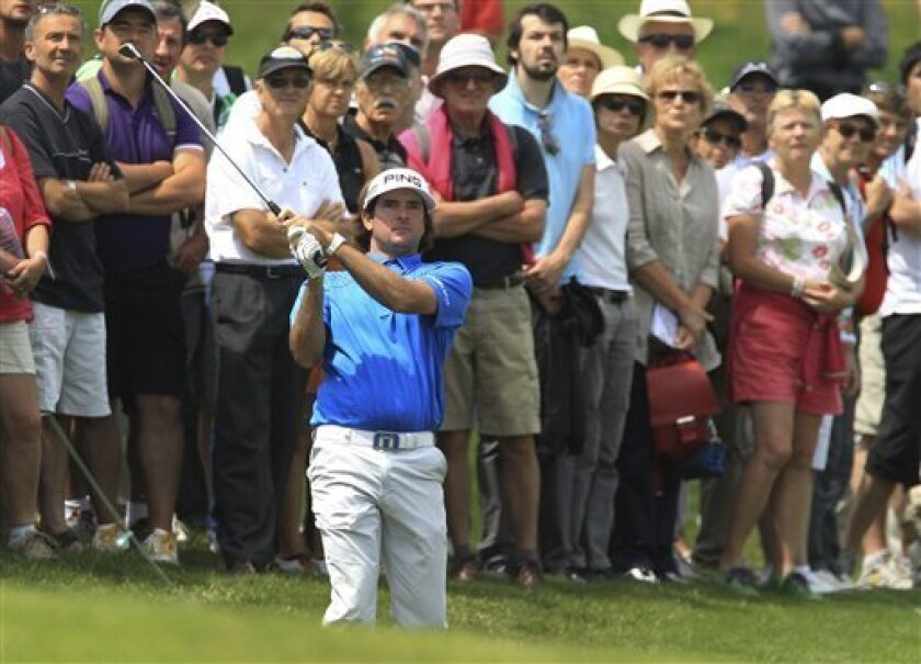 Bubba Watson of the U.S. tees off at the 4th hole, on the first day of the French Golf Open at the Golf National in Saint Quentin en Yvelines, West of Paris, Thursday June 30, 2011. (AP Photo/Bob Edme)