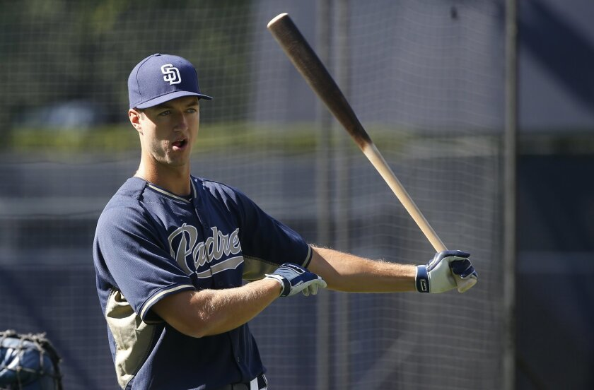 San Diego Padres pitcher Colin Rea gets ready to hit at batting practice prior to a baseball against the Cincinnati Reds Monday, Aug. 10, 2015, in San Diego. Rea will make his major league debut when he starts against the Cincinnati Reds Tuesday. (AP Photo/Lenny Ignelzi)