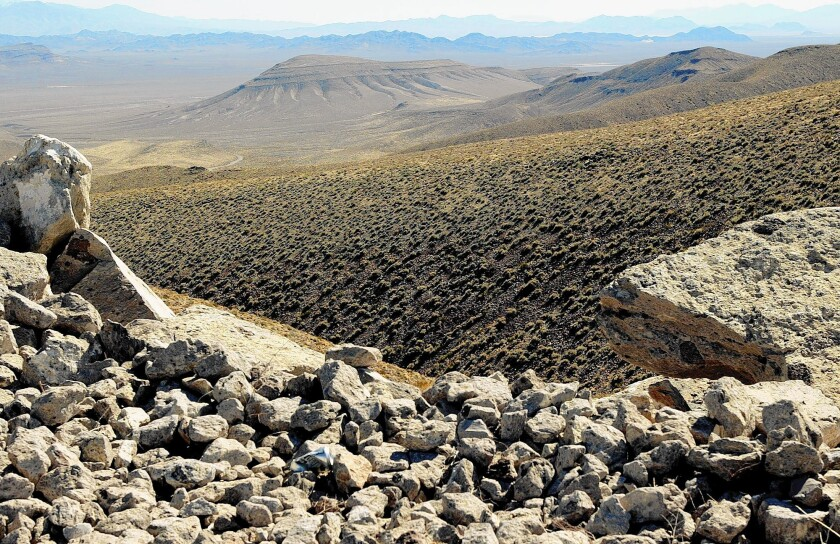 The view from the top of the Yucca Mountain nuclear waste facility in Nevada.