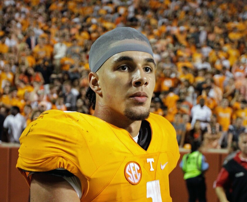 Tennessee running back Jalen Hurd (1) is seen after a game against Appalachian State on Sept. 1.