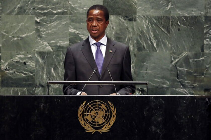 Zambia's President Edgar Chagwa Lungu addresses the 74th session of the United Nations General Assembly, Wednesday, Sept. 25, 2019. (AP Photo/Richard Drew)