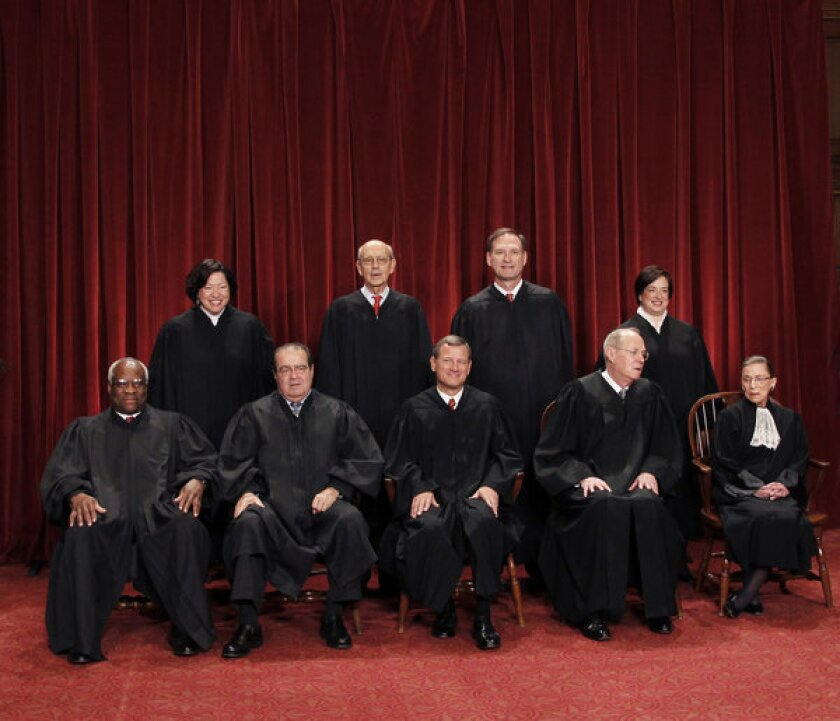 The justices of the Supreme Court, seen in a 2010 group portrait.