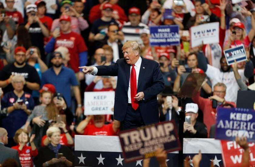 The president of the United States, Donald Trump, speaks to supporters during a rally at the I-X Center in Cleveland, Ohio, USA, 05 November, 2018. EPA-EFE/DAVID MAXWELL