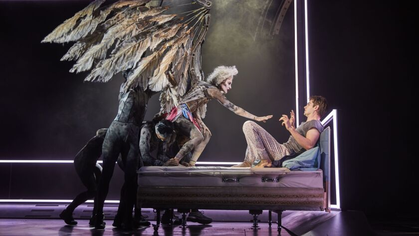 Beth Malone and Andrew Garfield in National Theatre's Broadway production of Tony Kushner's epic