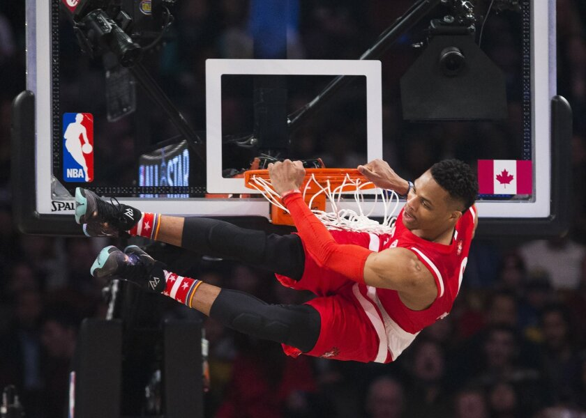 Western Conference's Russell Westbrook, of the Oklahoma City Thunder, slams dunks during the first half of the NBA all-star basketball game, Sunday, Feb. 14, 2016 in Toronto. (Mark Blinch/The Canadian Press via AP) MANDATORY CREDIT