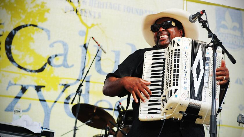 Musician at the Louisiana Cajun-Zydeco Festival in New Orleans. Courtesy of New Orleans CVB