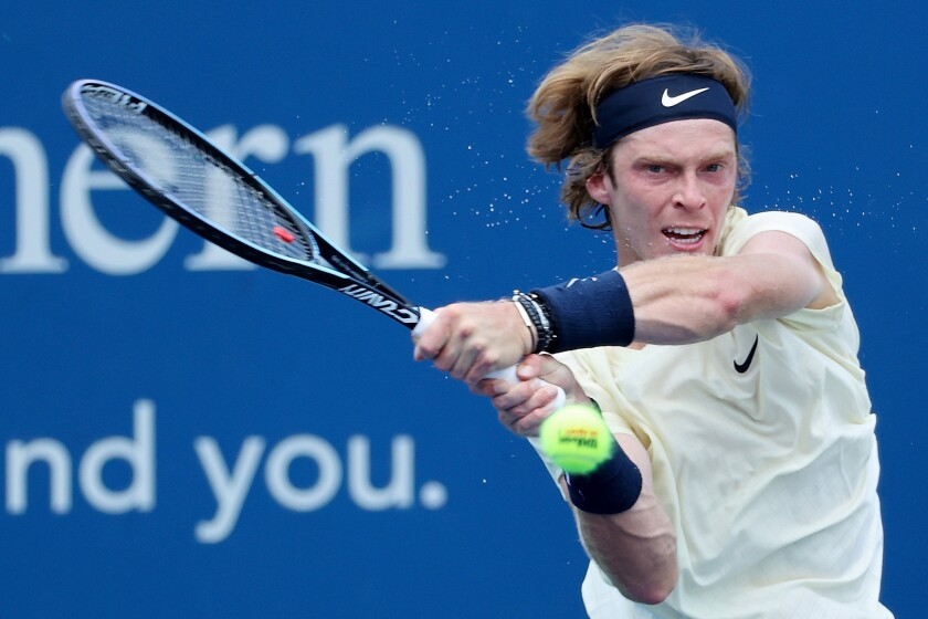 ATP Tour No. 5 Andrey Rublev returns a shot during a tournament in Ohio on Aug. 21.