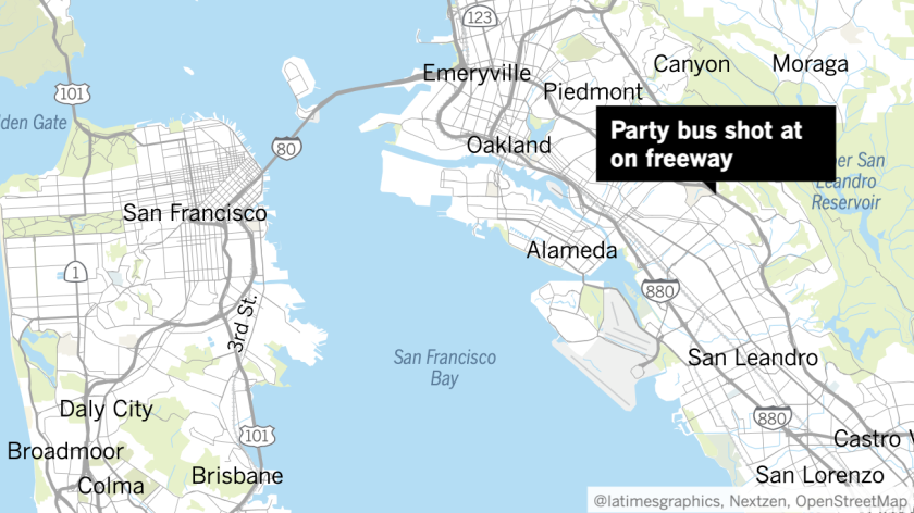 A map of the Bay Area showing where the party bus was shot up in Oakland