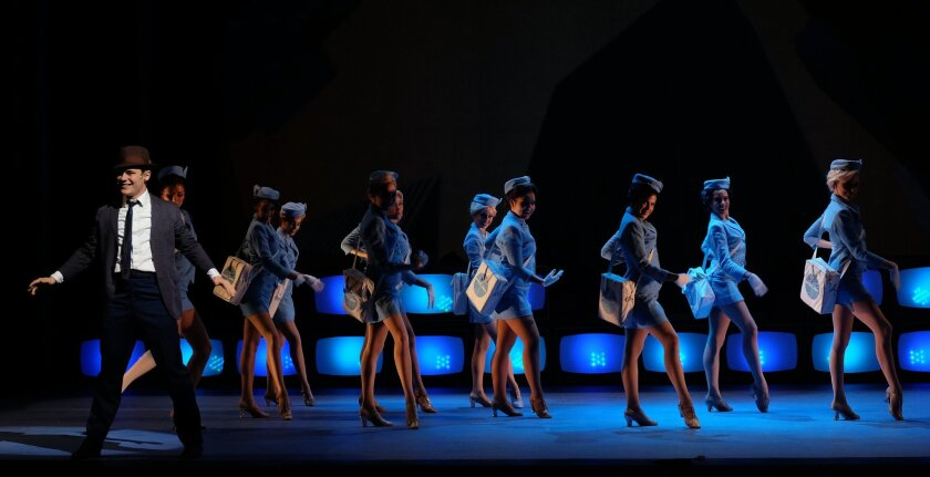"Jacob Haren and a high-flying ensemble in Moonlight's ""Catch Me If You Can."""