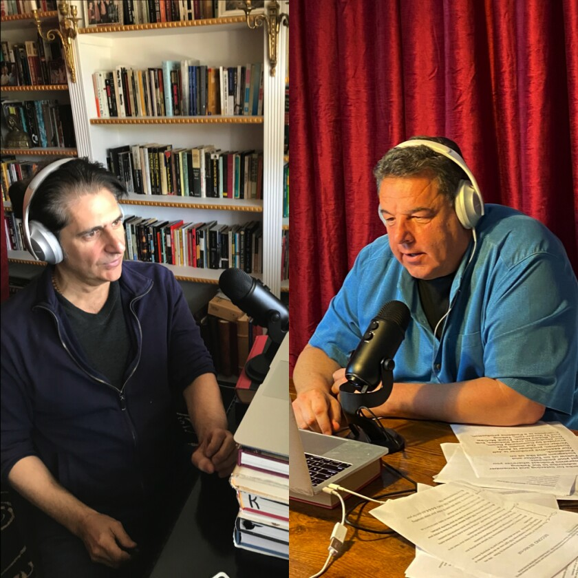 "Michael Imperioli, left, and Steve Schirripa hosting ""Talking Sopranos"""