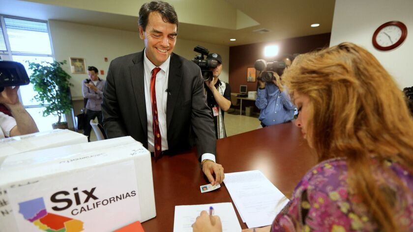 Tim Draper presents petitions in Sacramento for his 2014 initiative to divide California into six states.