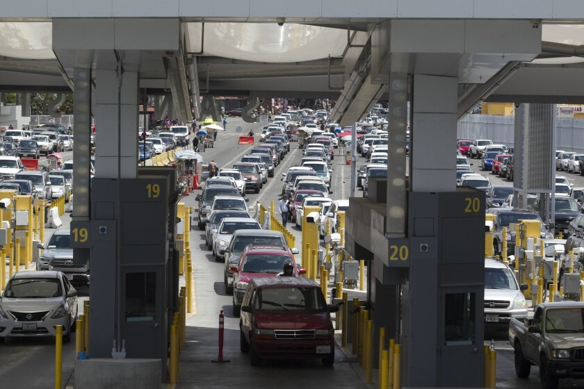 The San Ysidro Port of Entry  is the busiest land border crossing in the Western Hemisphere, on average processes 20,000 northbound pedestrians and 70,000 vehicle passengers each day.