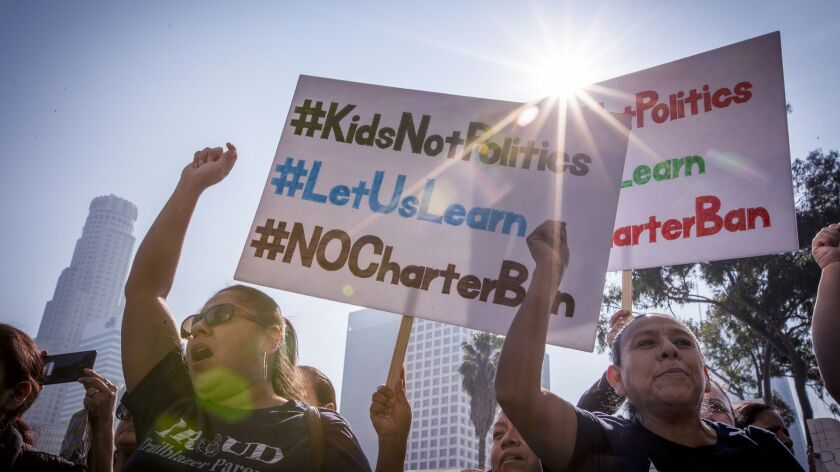 Hundreds of charter supporters turn out on Jan. 29 to protest an L.A. school board resolution calling for a moratorium on new charter schools.