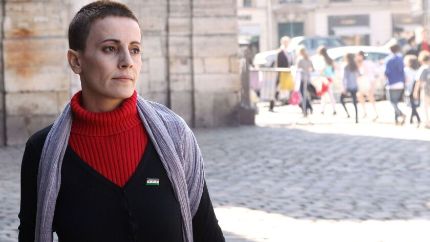 Syrian actress and activist Fadwa Suleiman is seen in 2012 in Paris.