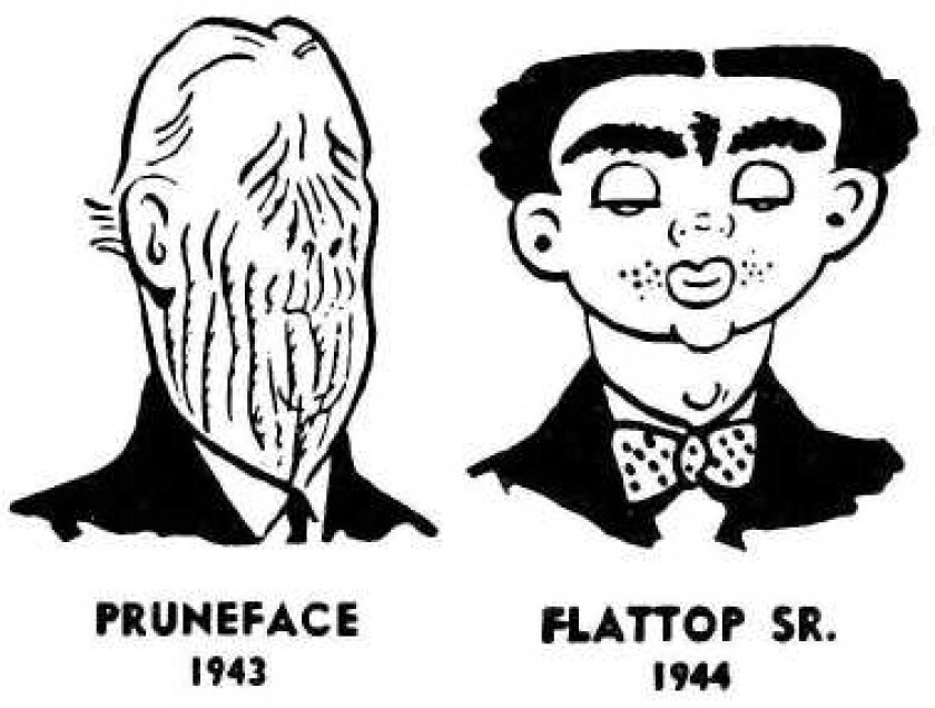 """Dick Tracy"" characters Pruneface and Flattop Sr., Chester Gould, 1943-44, Tribune Media Services"