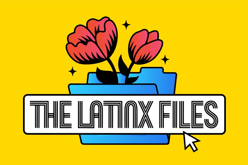A logo for the Latinx Files shows the text over a blue folder with red flowers in it on a yellow background