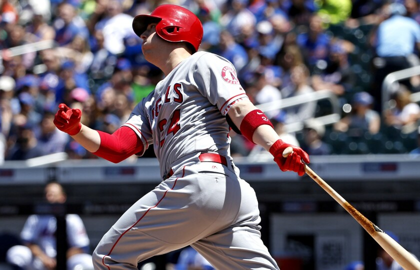C.J. Cron watches his first-inning grand slam during a game against the Mets on May 21, 2017.