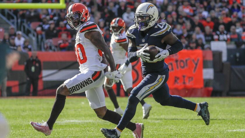Chargers cornerback Desmond King intercepts a pass intended for Cleveland Browns receiver Jarvis Landry.