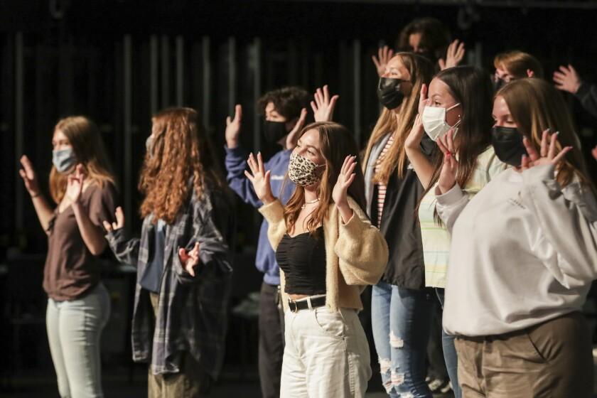 Choir practice at Capistrano Valley High School.