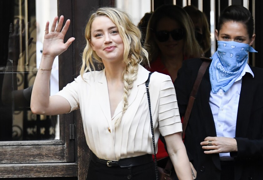 Amber Heard arrives at High Court in London on Monday in Johnny Depp's libel trial.
