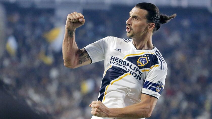 LA Galaxy forward Zlatan Ibrahimovic celebrates his goal during the second half of an MLS soccer mat
