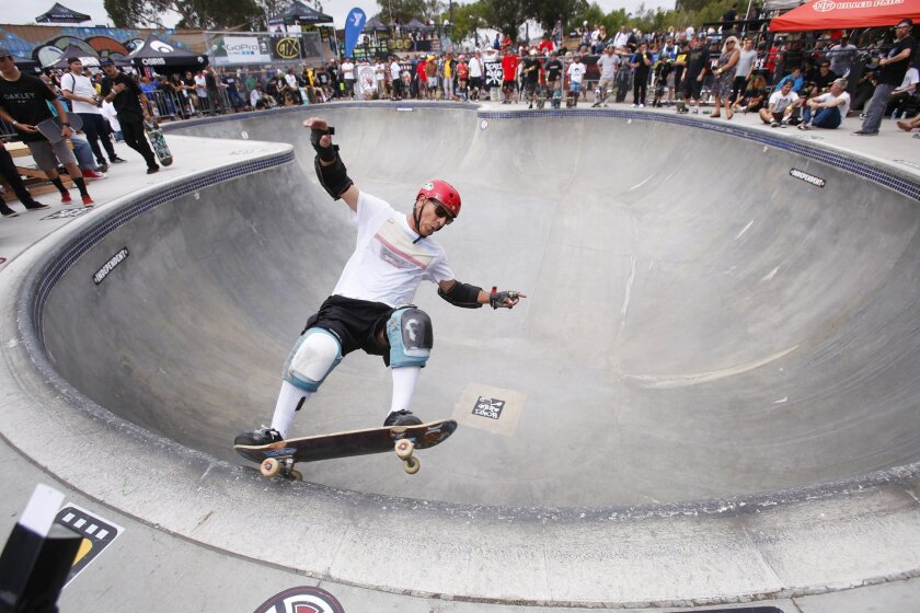 Steve Alba, known as Salba, skates in the pool during  the Clash at Clairemont at the Mission Valley YMCA Krause Family Skate & Bike Park in Clairemont.