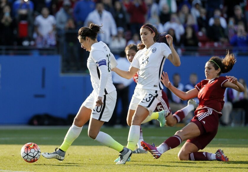 United States midfielder Carli Lloyd (10) scores off her own rebound following an attempted penalty kick against Mexico in the second half of a CONCACAF Olympic qualifying tournament soccer match, Saturday, Feb. 13, 2016, in Frisco, Texas. The U.S.' Alex Morgan (13) and Mexico' Alina Garciamendez (