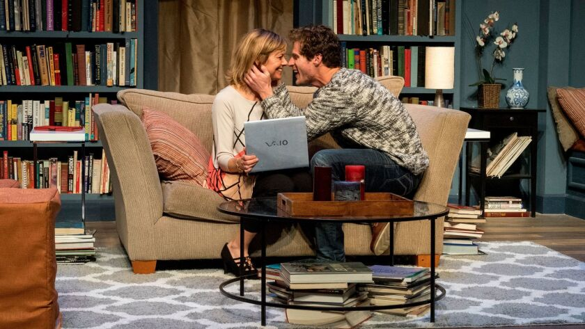 """Lisel Gorell-Getz and Connor Sullivan in San Diego Rep's """"Sex With Strangers."""""""